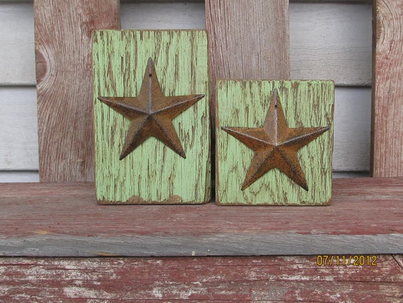 Primitive Sage Green Barn Beam Candle Holders