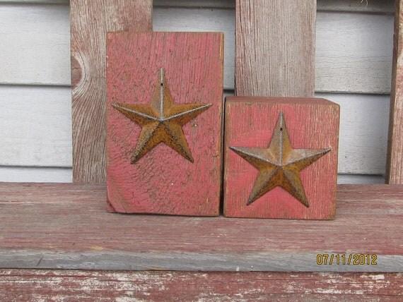 Primitive Americana Red Barn Beam Candle Holders