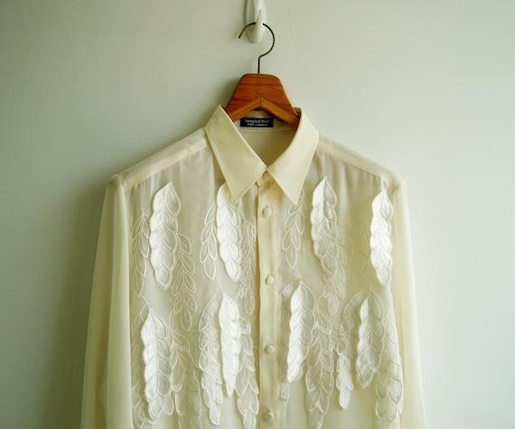 Vintage Ivory Heavenly Leaves Applique Sheer Chiffon Shirt LARGE
