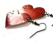 Red hearts - red leather, leather earrings, patent, shiny - heart earrings - swarovski crystals - Valentine's day, christmas gift, romance
