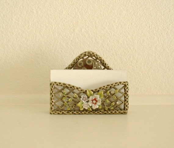 Business card holder or stand, for business cards or photographs,enameled, cloisonne, flowers, rhinestones, lady bug, lattice design