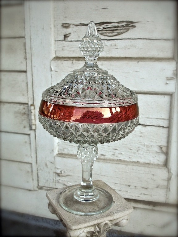 Vintage Pressed Glass Diamond Cut Candy Dish With Lid Crystal