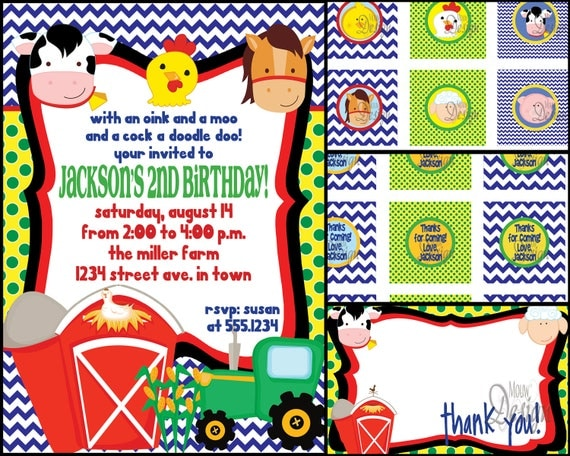 Farm  or Barnyard Birthday Party Invite with FREE cupcake tags, favor tags, and thank you card - Digital Files