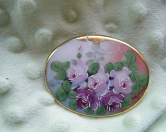 Hand Painted Rose Brooch Porcelain Victorian Style