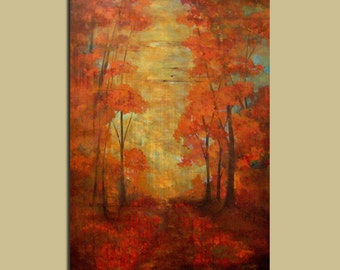 Distressed Painting Red Fall Trees with elegant rustic mood, fine art paintings Fall red original wall art