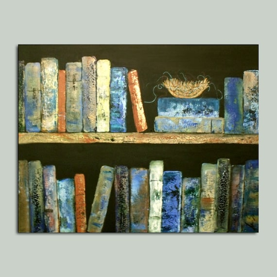 Bird Nest in library books Abstract Vintage Vibe Painting On Sale