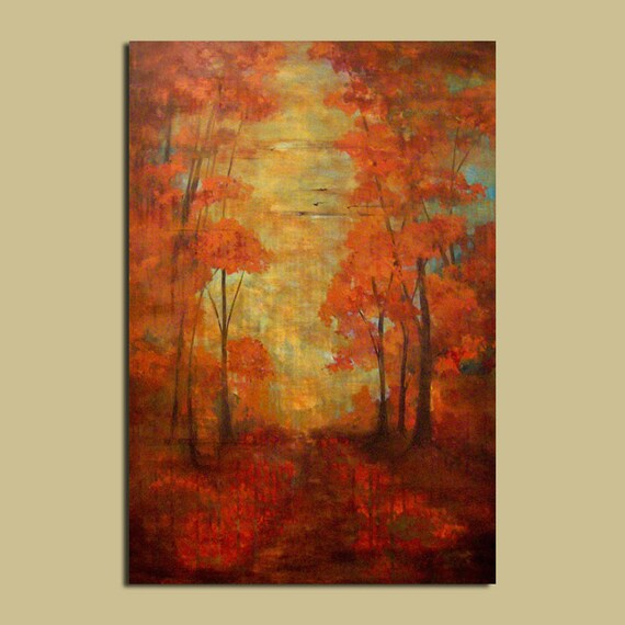 Distressed Painting, 24 x 36. Red Fall Trees with elegant rustic mood, fine art paintings
