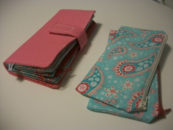 Envelope Cash System Deluxe Wallet & Pouches - Pink Turquoise