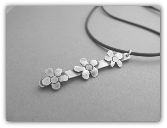 SALE - Flowers all in a row - hand crafted sterling silver flowers, handmade, rustic, oxidized metalwork necklace