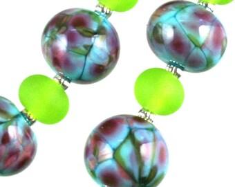 Friskey handmade Lampwork Beads, Sky Blue Mosaics