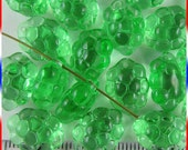 Grape Bunch Fruit Beads 11mm x 14mm Czech Glass - Translucent Light Green (15)