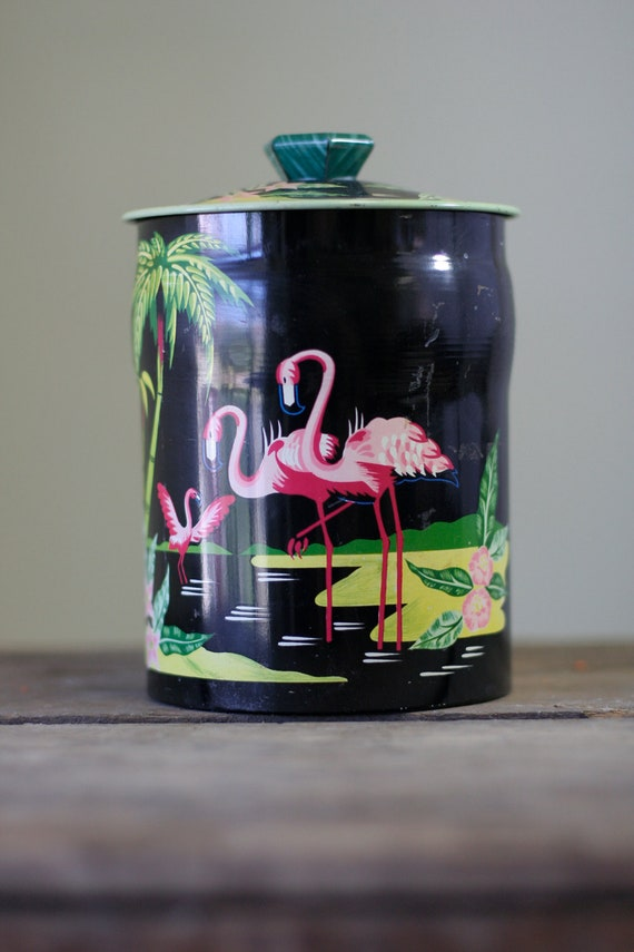 George W. Horner & Co. Decorative Flamingo Container/Tin (E123)