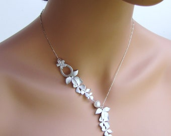 Simple asymmetric lariat necklace with pearls & silver orchids
