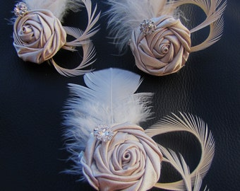 Set of 3 Champagne satin rosettes bridesmaids' fascinators, wedding party headpieces with ivory goose feathers and rhinestones