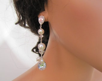 Long dangle pearl bridal earrings, multi layered earrings w/ drop CZ cut connected with sea shell pearls - sterling silver ear post - BE1650