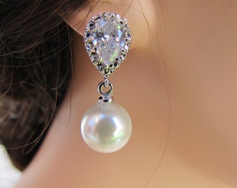 Bridal pearl drop earrings, cubic zirconia with South sea shell pearl sterling silver ear posts - BE109