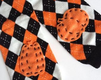 halloween orange and black argyle baby leg warmers - argyle with pumpkin