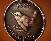 bird coin necklace ENGLAND  FARTHING JENNY wren pendant  sterling bail . animal coin Choose  Year . personalize . No.00926