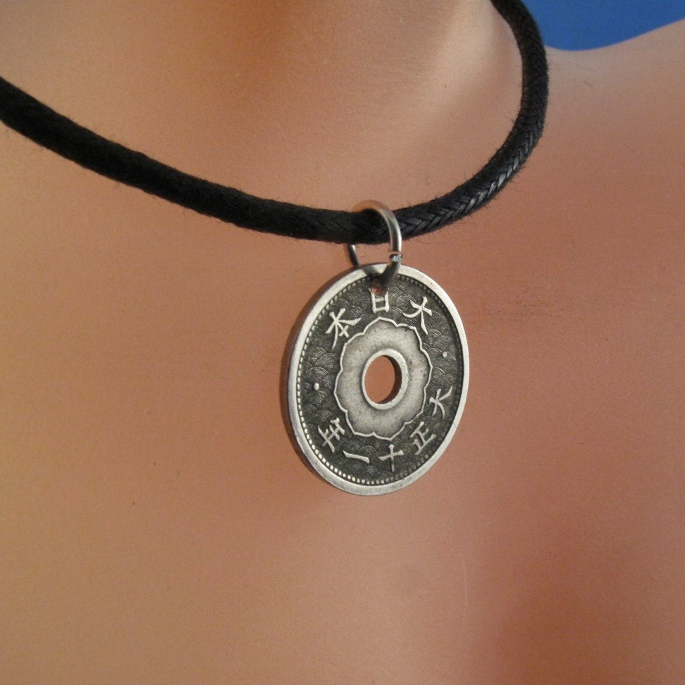 coin necklace japanese jewelry pendant silver sen kiku