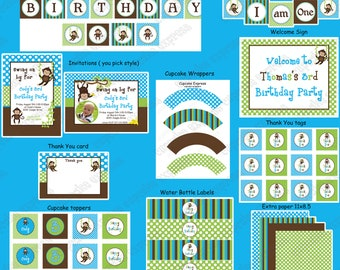 mod Monkey Boy blue green Birthday Package PRINTABLE boys first birthday Cupcake toppers Invitation blue green banner Deluxe Collection