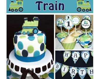 Train boys first birthday decoration Deluxe PRINTABLE Party Package Banner Cupcake toppers Invitation DIY personalized Cupcake Express