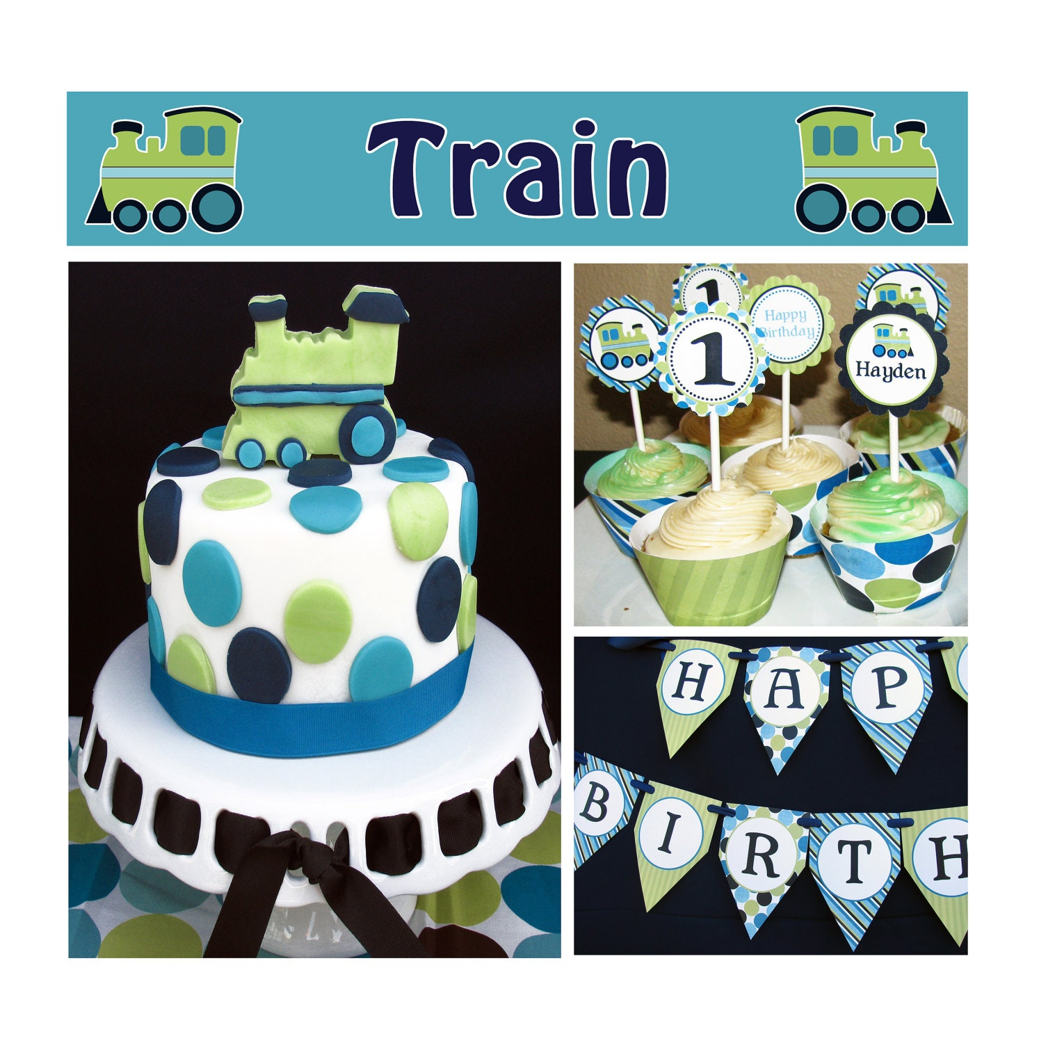 Train Boys First Birthday Decoration Deluxe PRINTABLE Party