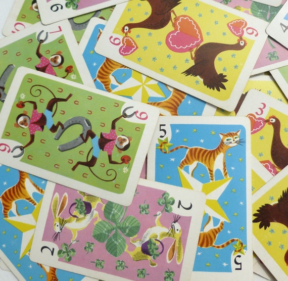 Whitman Hearts Game Playing Cards Lot Animal Theme in Blue, Green, Yellow and Lilac Pastels Craft, Assemblage, Scrapbooking Supplies