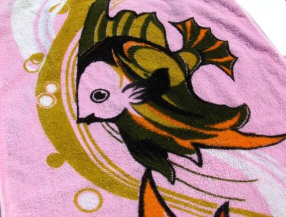 Pink Tropical Fish Bath Towel Bathroom Powder Room in Olive Green, Mustard Yellow, Orange, Black and White Mid Century Kitsch