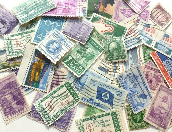 United States Postage Stamps Lot Cancelled Cool Colors Green, Blue, Purple Arts and Craft Supplies Ephemera