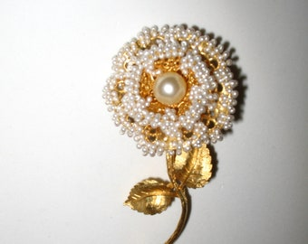Fabulous Vintage Pearl Studded Flower Pin