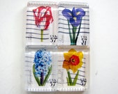 SPRING FLOWERS postage stamp magnets