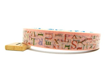 SALE Kawaii Upper Case and Lower Case Letters Deco Tape in Peach - 15mm x 25m (82 ft)