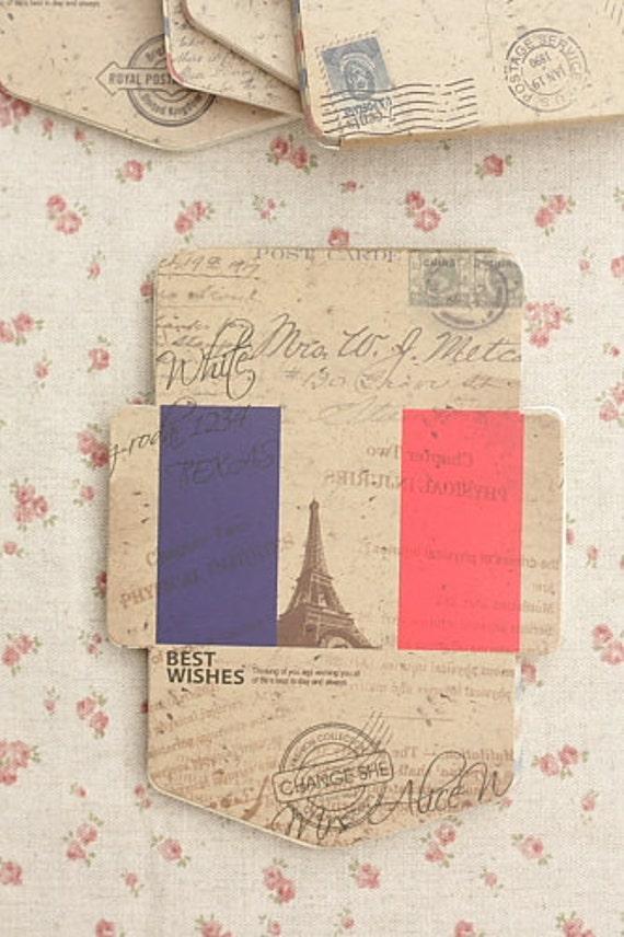 DIY Vintage Style Mini Kraft Envelopes Set - France