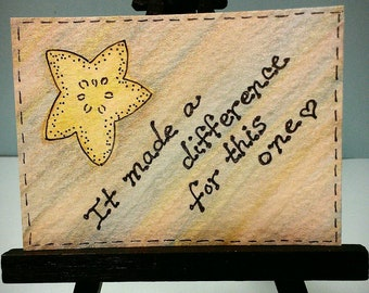 Starfish Story  ACEO Original Watercolor and Ink Collectible - It made a difference for this one - Gift of Gratitude and Thanks Teacher Gift