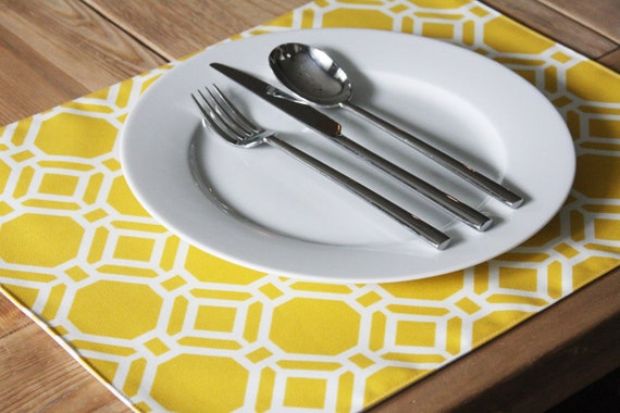 RESERVED for KIM - Fabric Placemats - Yellow Geometric - Set of 2