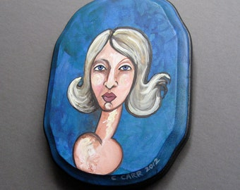 Original Painting - Portrait of a Women with Blond Hair - Small Painting on Wood - Ready To Hang