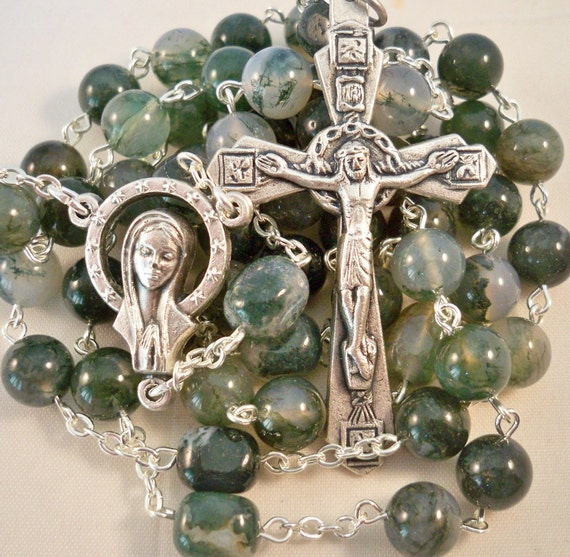 Handmade Catholic Rosary, Moss Agate Gemstone Beads, Queen of Heaven Center, Crown of Thorns Crucifix