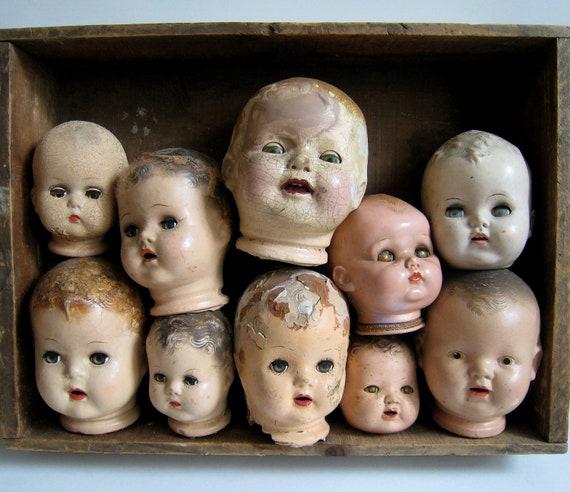 Various Vintage Creepy Doll Heads Wood Display By Fivehands