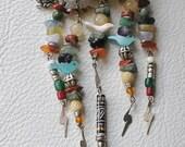 Beaded Totem, Bird, Frog, Gemstone, Free Form Vintage Brooch, Pin - EVE