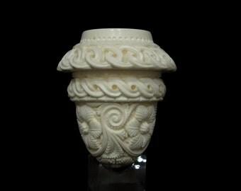 Floral Celtic Calabash Block Meerschaum Pipe by Emin Gift Pipes Big Bowl 4985 Vintage looks