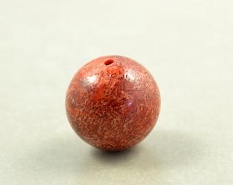 Oxblood Sponge Coral Bead, 14mm Focal Bead, Red Bead, One