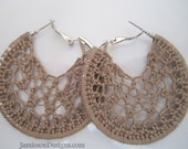 Taupe Crochet Hoop earrings-2 inch small