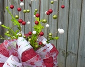 Christmas Tree Topper - Tree Top Bow - Double Sided - One of a Kind OOAK - Additional Tree Top Wildness - White and Red