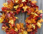 Fall Wreath - Fall / Autumn Wreath - Fall Wreath in Natural Colors with Berries and Pine Cones