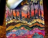 Mousepad 1 - Moon Over Spring -  mousepad from original batik by Carol