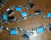 Vintage Mexican Taxco Silver Necklace with Black Onyx and Turquoise Inlay Stone
