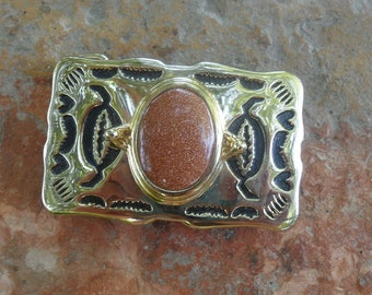 Goldstone Energy Stone Belt Buckle