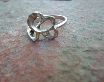 Ring Vintage Sterling Silver Double Heart Design
