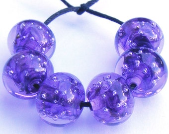 Lampwork bead set of 6 handmade purple glass spankle beads