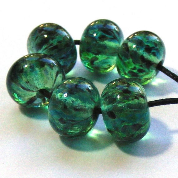 Handmade lampwork beads - set of 6 green frizzle glass beads